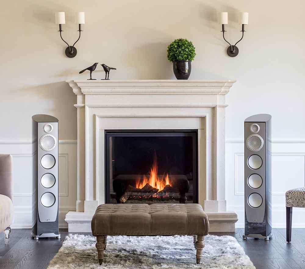High quality upright speakers in a brick room